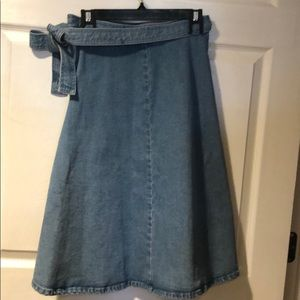 Kate Spade Denim Wrap Skirt Vntage style A-line 6